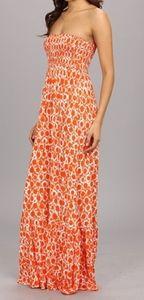 Michael Kors Strapless Orange White Printed Maxi